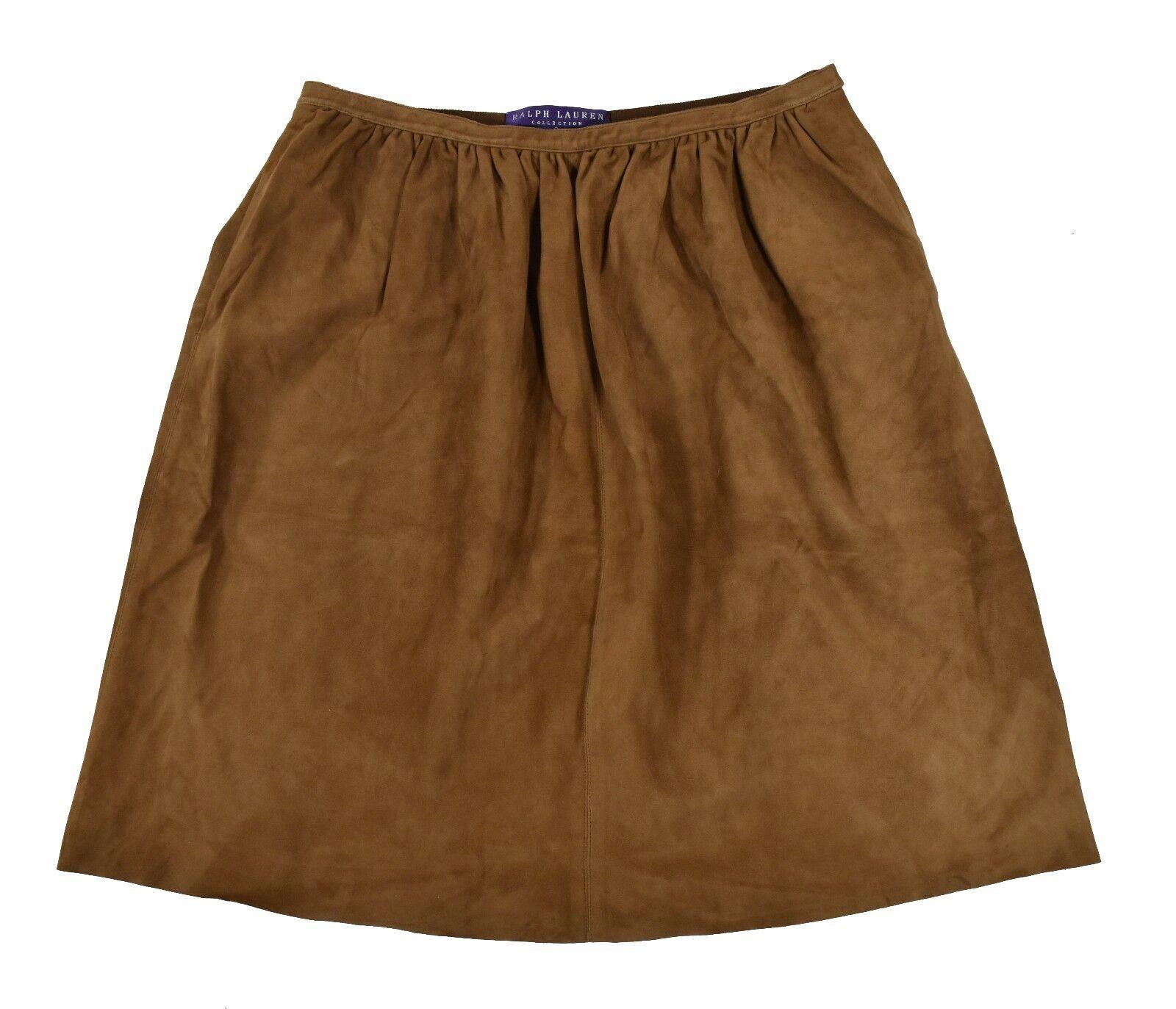 Ralph Lauren Purple Label Brown Suede Leather Skirt 8 New  1998