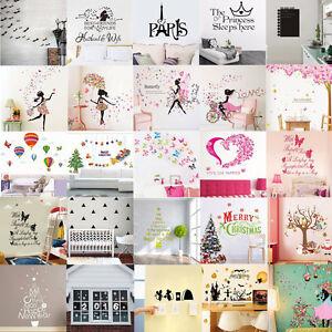 Autocollants-Sticker-Fleur-Fille-Jolie-Mural-Muraux-Art-Decoration-Chambre-Salon