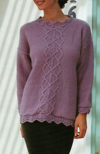 "447 DK Mesdames Lacy Ourlet /& Celtic Knot Jumper 30-40/"" VINTAGE KNITTING PATTERN"