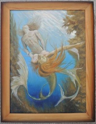 """Oil Painting Picture """"triton And The Mermaid"""" 75x58cm Comfortable Feel Art"""