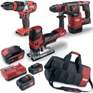 Flex-Pack-Battery-Hammer-Drill-Jigsaw-Impact-Driver-3x-Battery-LG-Bag