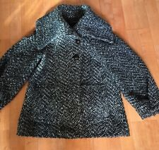 Women's Zara Grey Black And White Knitted Jacket Size S Coat Wool OUTERWEAR