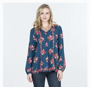 Matilda-Jane-Women-s-Size-Medium-Blouse-Shirt-Top-Long-Sleeve-Navy-Blue-Floral