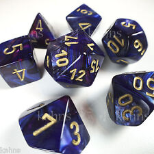 Chessex Dice Poly - Scarab Royal Blue w/ Gold - Set of 7 - 27427 Free Bag! DnD