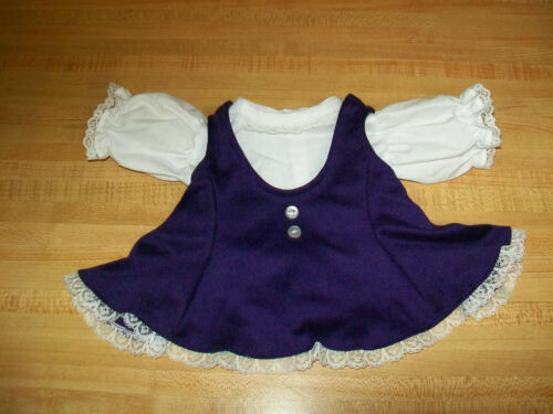 """PURPLE KNIT JUMPER  DRESS w// white BLOUSE or TEE for 16-18/"""" CPK Cabbage Patch"""