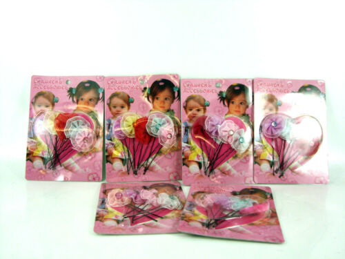 GIRLS INFANTS FLOWER DIAMANTE HAIR GRIPS CLIPS ACCESSORIES VARIOUS COLOURS NEW