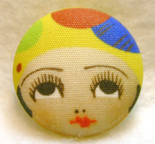 """1920s Flapper Girl Button Hand Printed Fabric /"""" Dottie /""""  FREE US SHIPPING"""