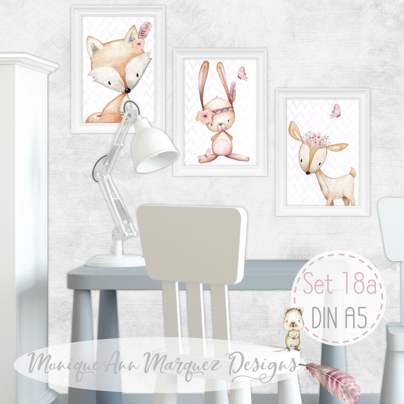 DIN A3     DIN A5  Aquarell Wald Tiere Bilder Set Kinderzimmer Bild Boho Tribal | Bekannt für seine schöne Qualität  41aa99