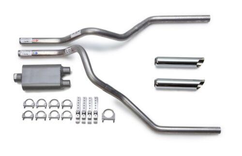 2002-2003 Dodge Ram Dual Exhaust Kit Performance 2-Chamber Muffler Chrome Tips