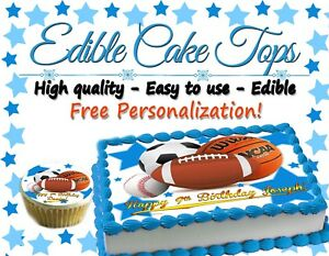 be2bb9d453951 Details about All Star Birthday Cake topper Edible paper sugar sheet  Football soccer baseball