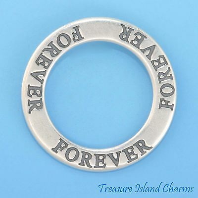"""/""""COMMITMENT/"""" AFFIRMATION .925 Solid Sterling Silver Charm BAND CIRCLE PENDANT"""