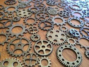 1-100-Bronze-Gear-Charms-for-Craft-amp-Scrapbooking