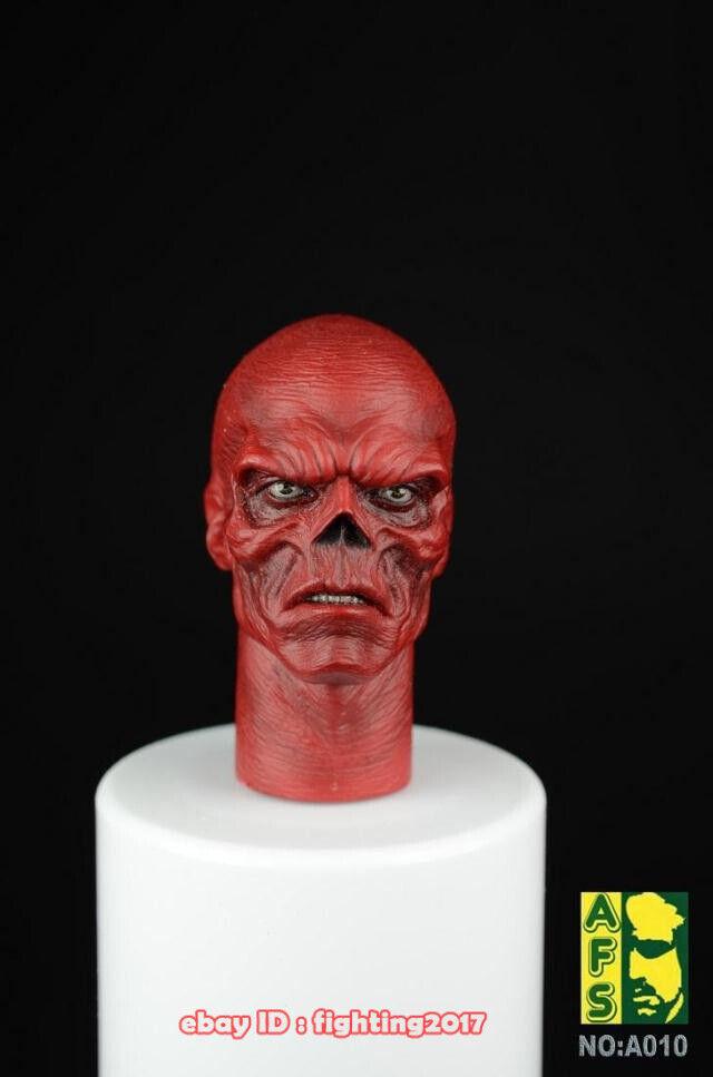 AFS Juguetes A010B rojo cráneo cabeza esculpida de 2 Modelo 1 6 Figura Accesorios