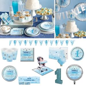 Details About Twinkle Little Star Baby Boys 1st First Birthday Blue Party Decorations
