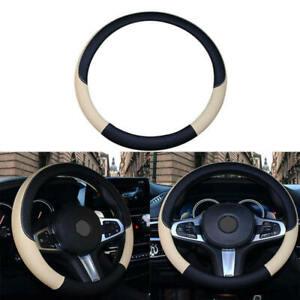 PVC-Leather-Car-Steering-Wheel-Cover-Anti-slip-Protector-38cm-Black-Beige-gfr