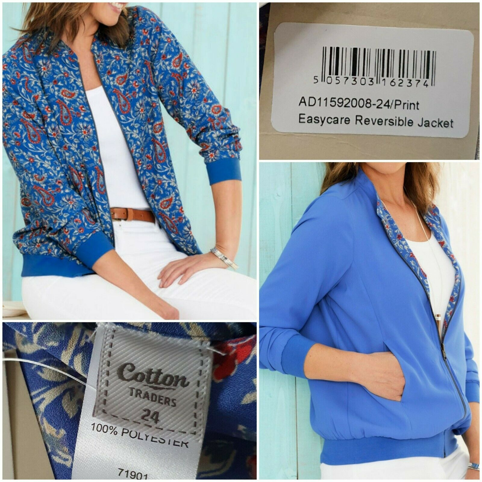 Easy Care Reversible Jacket Size 24 Blue & Floral With Pockets