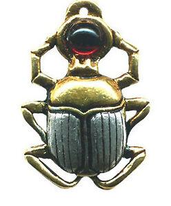 Pendentif-Egyptien-Scarabee-En-Etain-Argente-releve-a-l-039-Or-Chaine