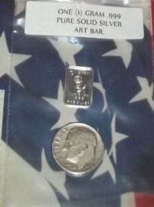 1-gram-999-Solid-Silver-Mini-Art-Bar-with-1-Silver-USA-Dime-1964-or-older