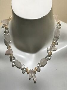 GRADE-AAA-PINK-Pearl-ROSE-QUARTZ-Crystal-Sterling-Silver-NECKLACE-20