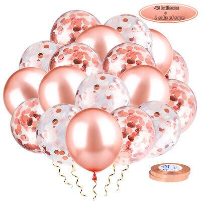US Rose Gold Confetti Foil Balloons 12/'/' 60PCS Party Birthday Wedding Decor Set