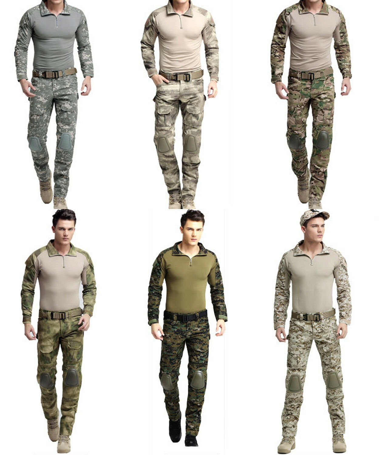 Men Tactical Combat Uniform Set  ACU Army CP Military Elbow Knee Pads Long sleeve  hot sports