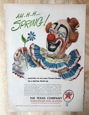 Amiable Original Print Ad 1950 Texaco Company Ah..h Merchandise & Memorabilia Advertising-print Spring Clown Vintage Art Buy One Get One Free