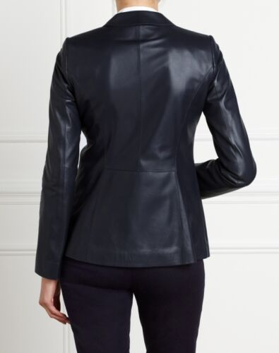Pure Collection Leather Blazer Ink Blue Ladies UK Size 12 RRP £399 Box45 28 F