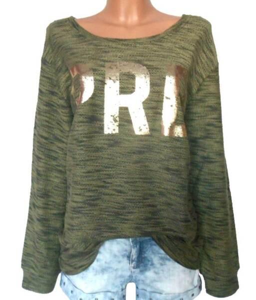 SHEEGO Damen Sweatshirt Pullover oliv meliert Goldprint GR. 40 – 48 NEU – SW33
