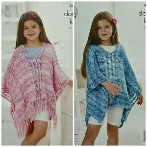 Details about KNITTING PATTERN Girls Deep Round Neck Poncho with Tassels  Cotton DK KC 4463
