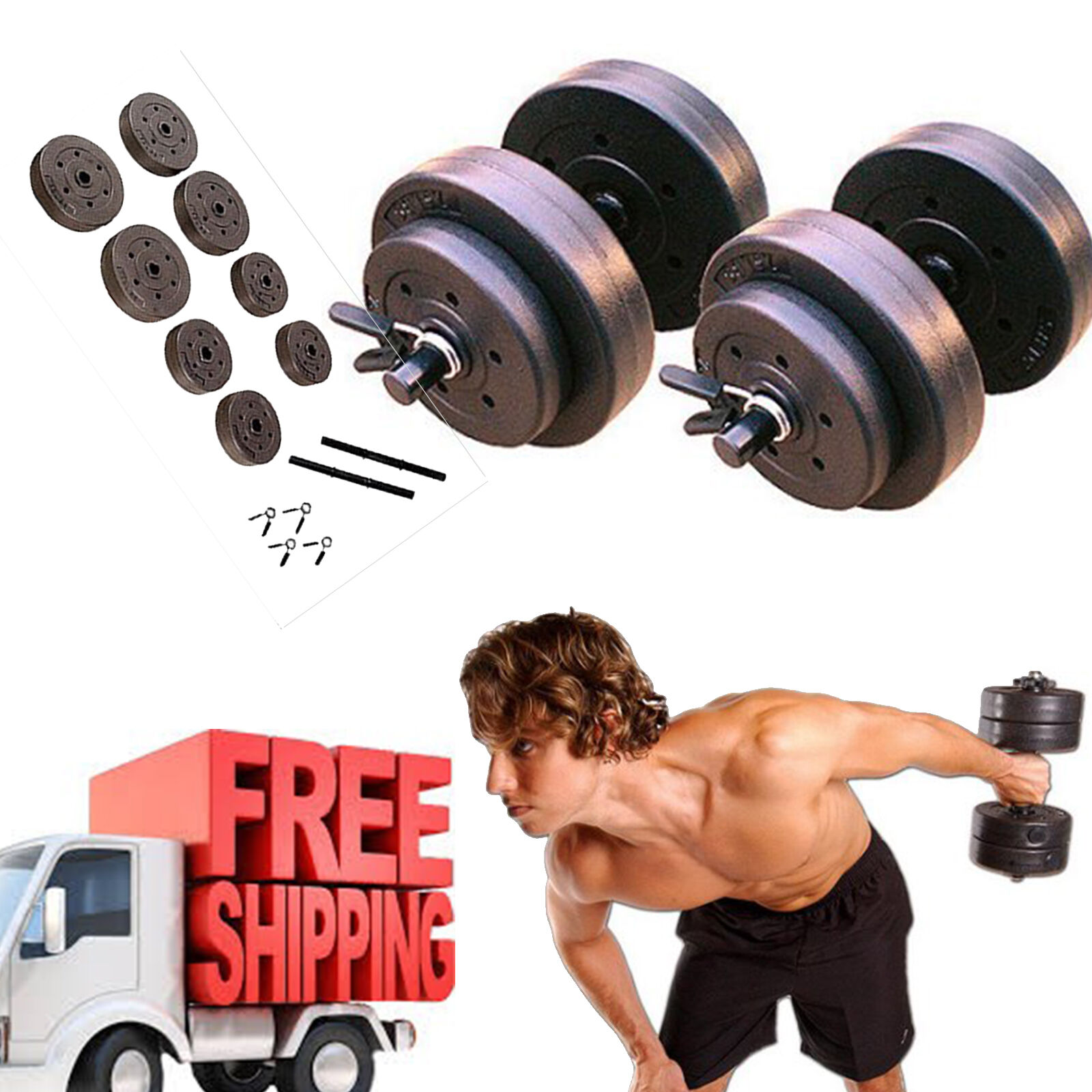 Dumbbell Set  golds Gym 40 Lb Vinyl Weight Home Fitness Equipment Adjustable  100% free shipping