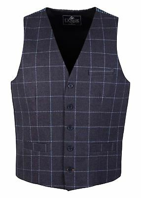 Clever Men's Lloyd Attree & Smith Navy Check Waistcoat With Printed Back