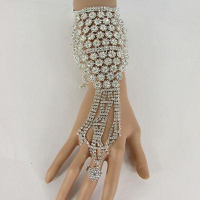 New Women Silver Flower Rhinestones Slave Ring Fashion Bracelet Hand Chains