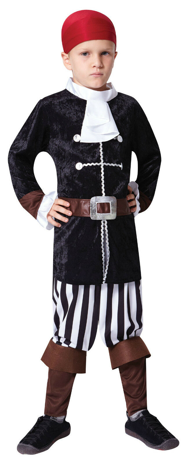 Caribbean Black Pirate Of The Seas Captain Halloween Costume For Boys