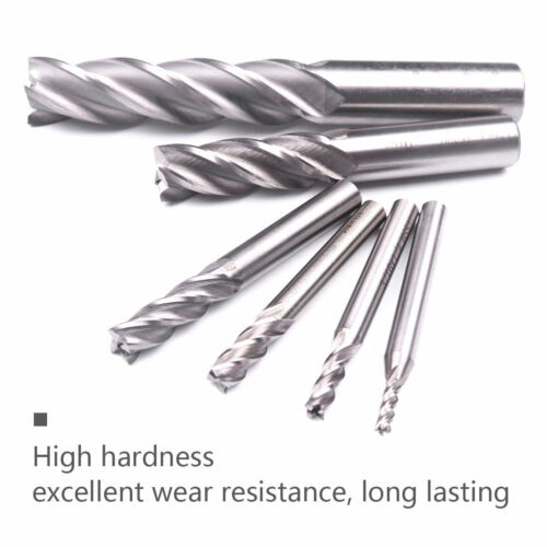 Straight Shank 4 Flutes End Mill Cutter Set for CNC Milling Machine Tool Bit