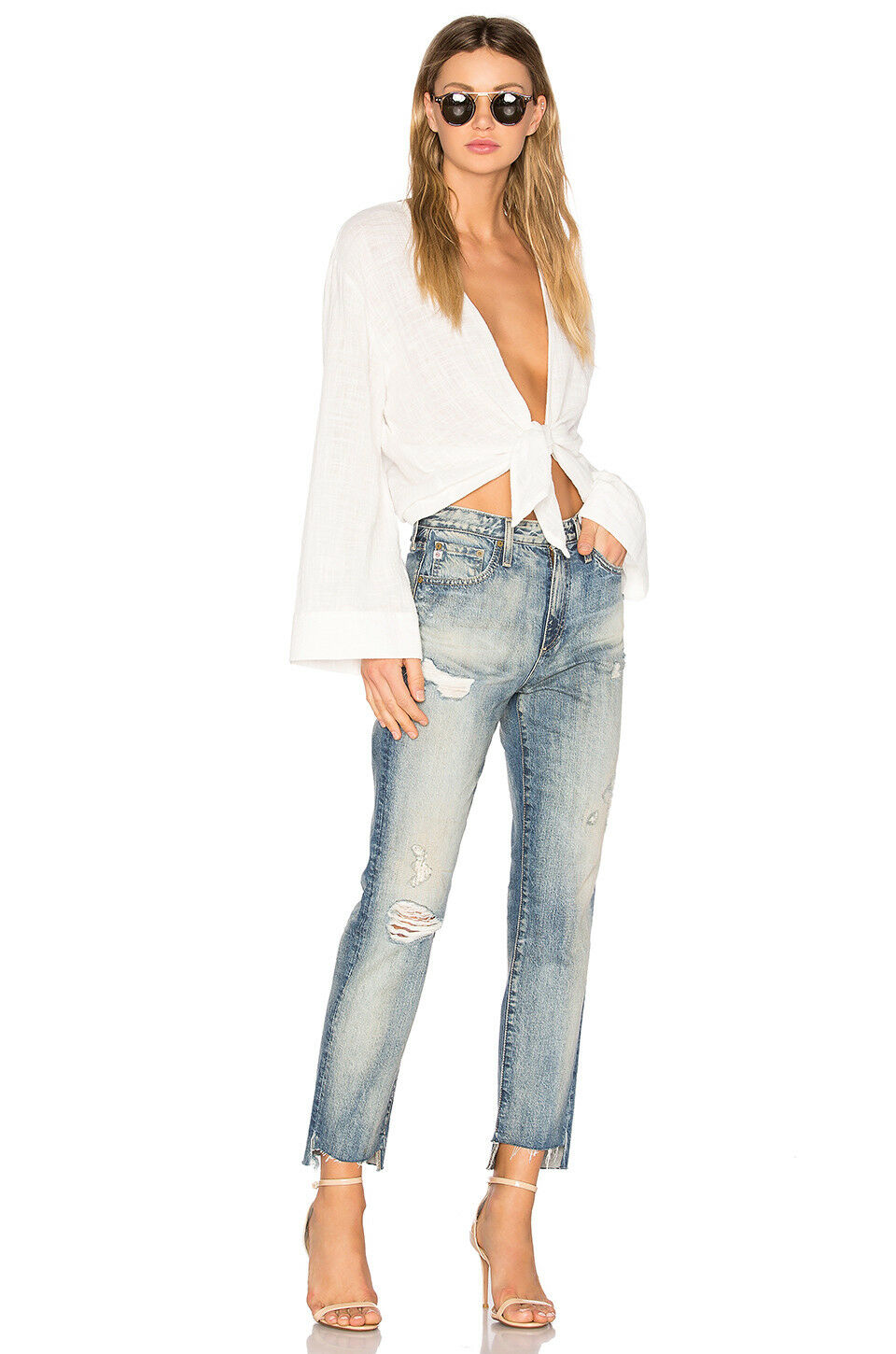 325 AG Adriano goldschmied Phoebe Distressed 17 Years Lapse Method Women Jeans