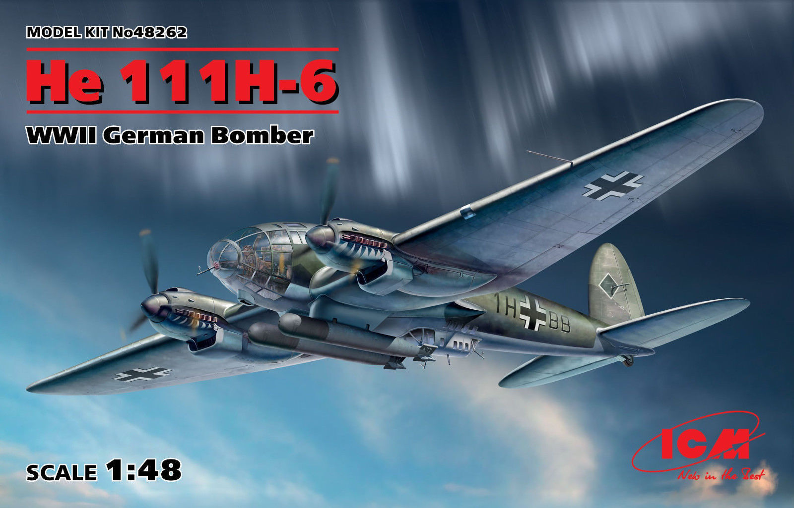 ICM Heinkel LUI 111H-6 WWII German Bomber TELONE 1:48 Kit di costruzione 48262
