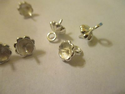 25 Sterling Silver Plated Brass Peg  Bead Caps Bell Caps 10x7 mm    SPC  (95)