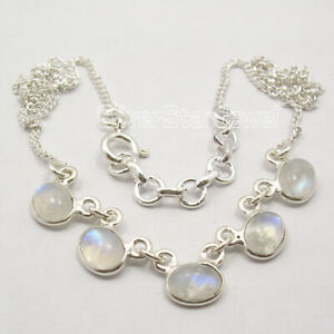 Blue-Rainbow-Moonstone-Necklace-42-6-cm-925-Pure-Silver-Gemstone-Art-Jewellery