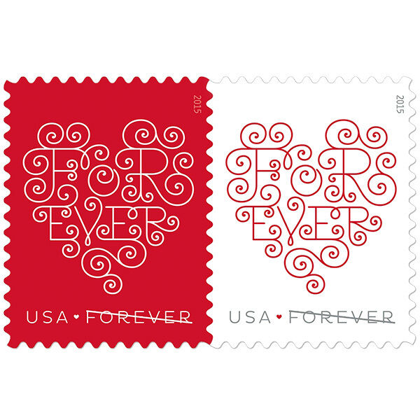 2015 49c Lacy Forever Hearts, Pair Scott 4955-56 Mint F