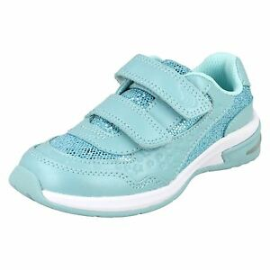 Girls Clarks Piper Play Inf Aqua Or Pink Leather Riptape Trainers With Lights
