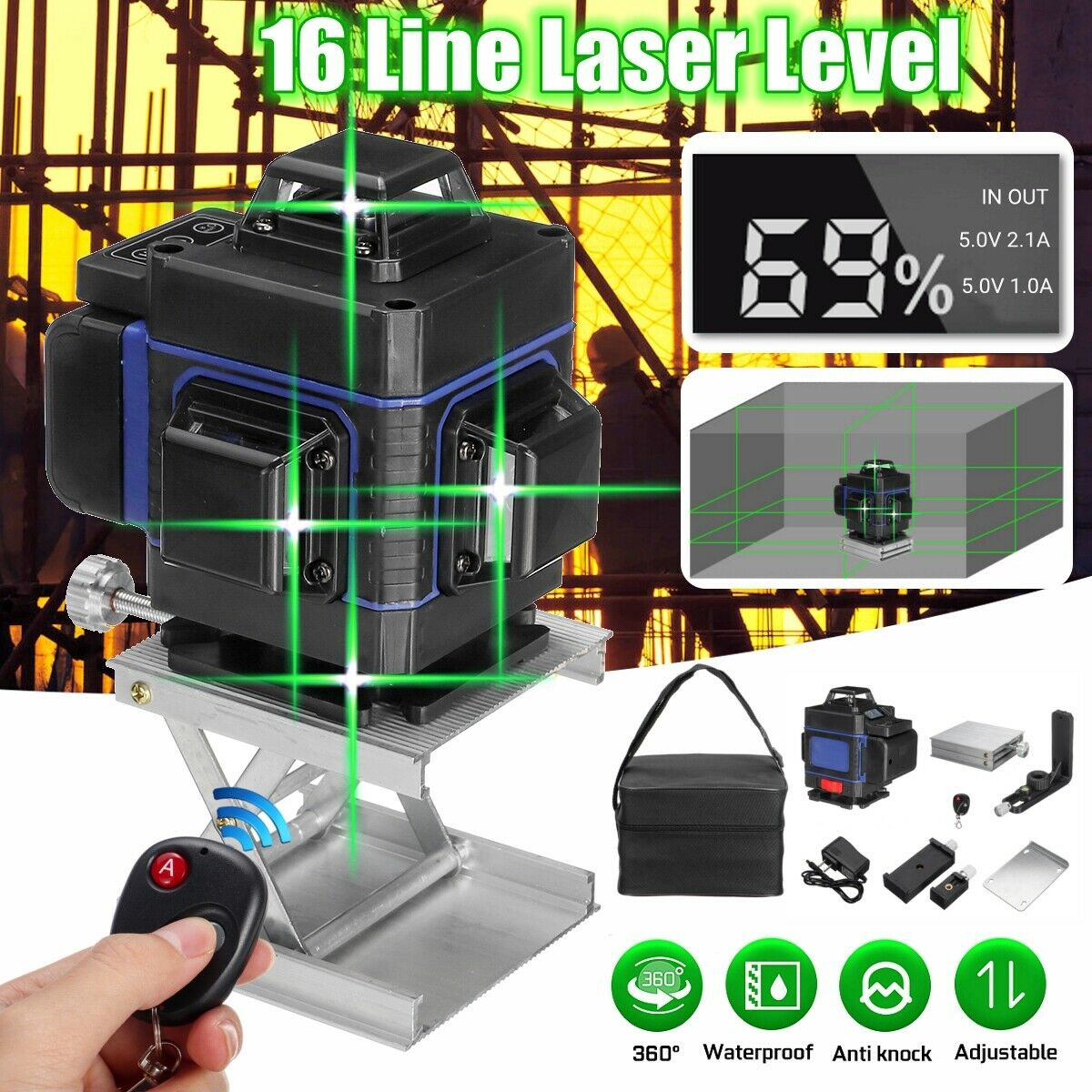 3D 360° 16 Line Laser Level Grün Self Leveling Rotary Cross Measure Tool Remote