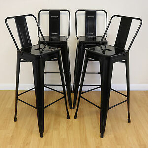 set of 4 black stools back rests industrial metal breakfast bar cafe