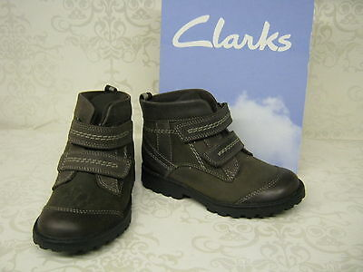 Boys Clarks Ankle Boots Diggy Man FST Grey or Brown Leather