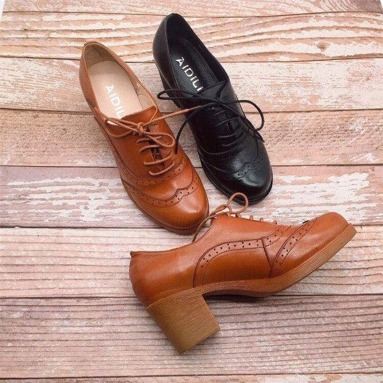 Mujer Retro Oxfords Grueso Tacón Medio Medio Medio Con Cordones Puntera rojoonda Zapatos Brogue punta de ala  envio rapido a ti