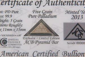 5GRAIN SOLID Platinum BULLION MINTED BAR 99.9  Pure PT With COA ACB