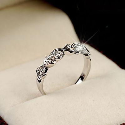 Fashion Women 18K White Gold GP Band Wedding Swarovski Crystal Ring gift