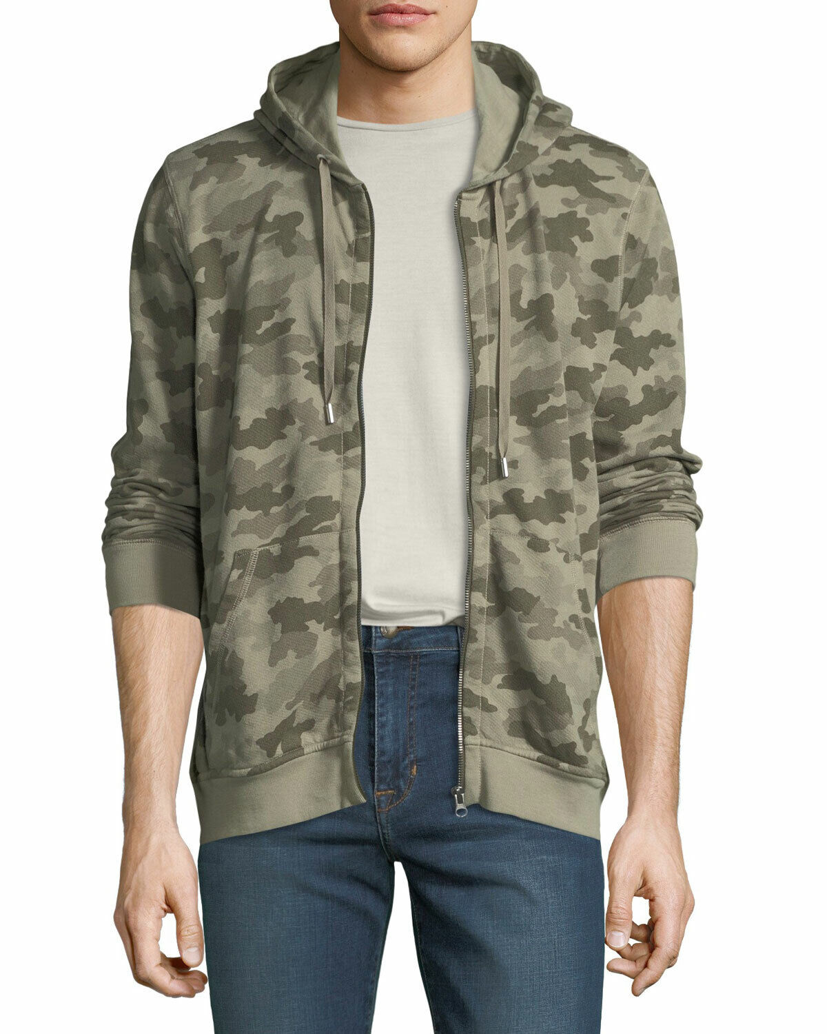 ATM Anthony Thomas Melillo Men's Sage Camouflage French Terry Zip Hoodie