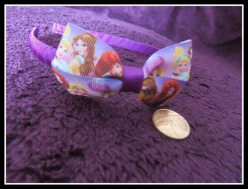 Girl/'s Headband//Hair Bobbles//Clips Handmade using Disney Princess Ribbon purple