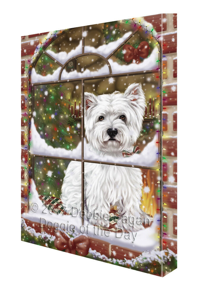 Please Come Home For Christmas West Highland Terriers Dog Canvas Wall Art