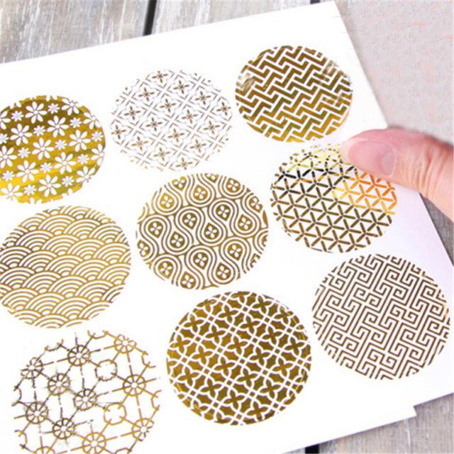 9Pcs/Sheet Gold Stripe Dot Design Wedding Invitations Envelope Seal Stickers